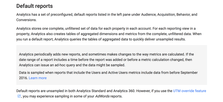 Default Reports in Google Analytics