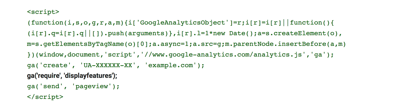 adjusting google analytics demographics tracking code