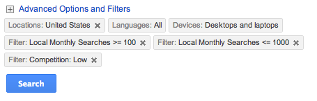 Advanced Google AdWords Search Options