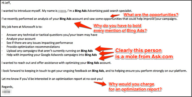 Bing Ads Optimization Email