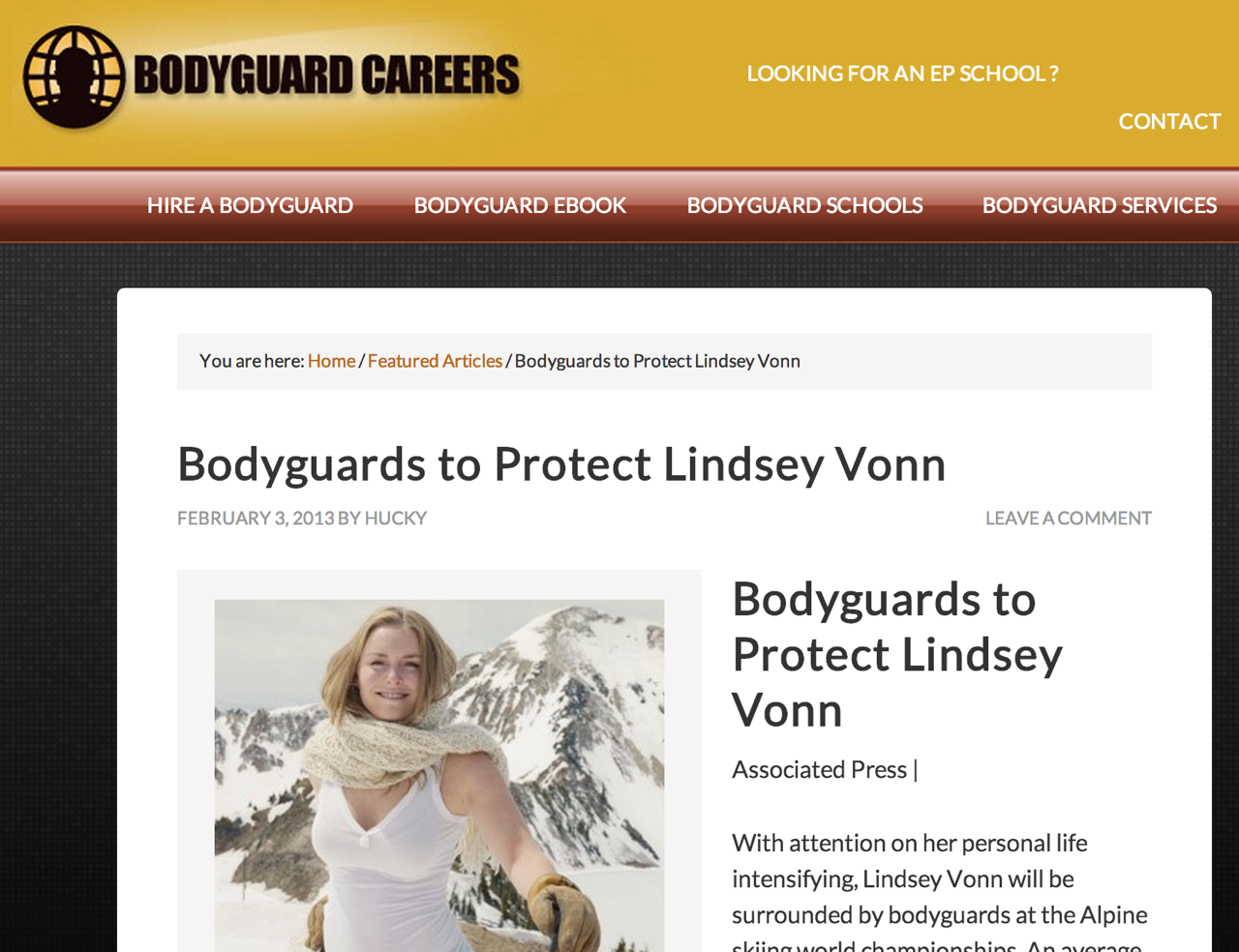 Bodyguards to Protect Lindsey Vonn
