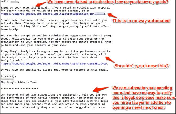 Google Optimization Email Explained