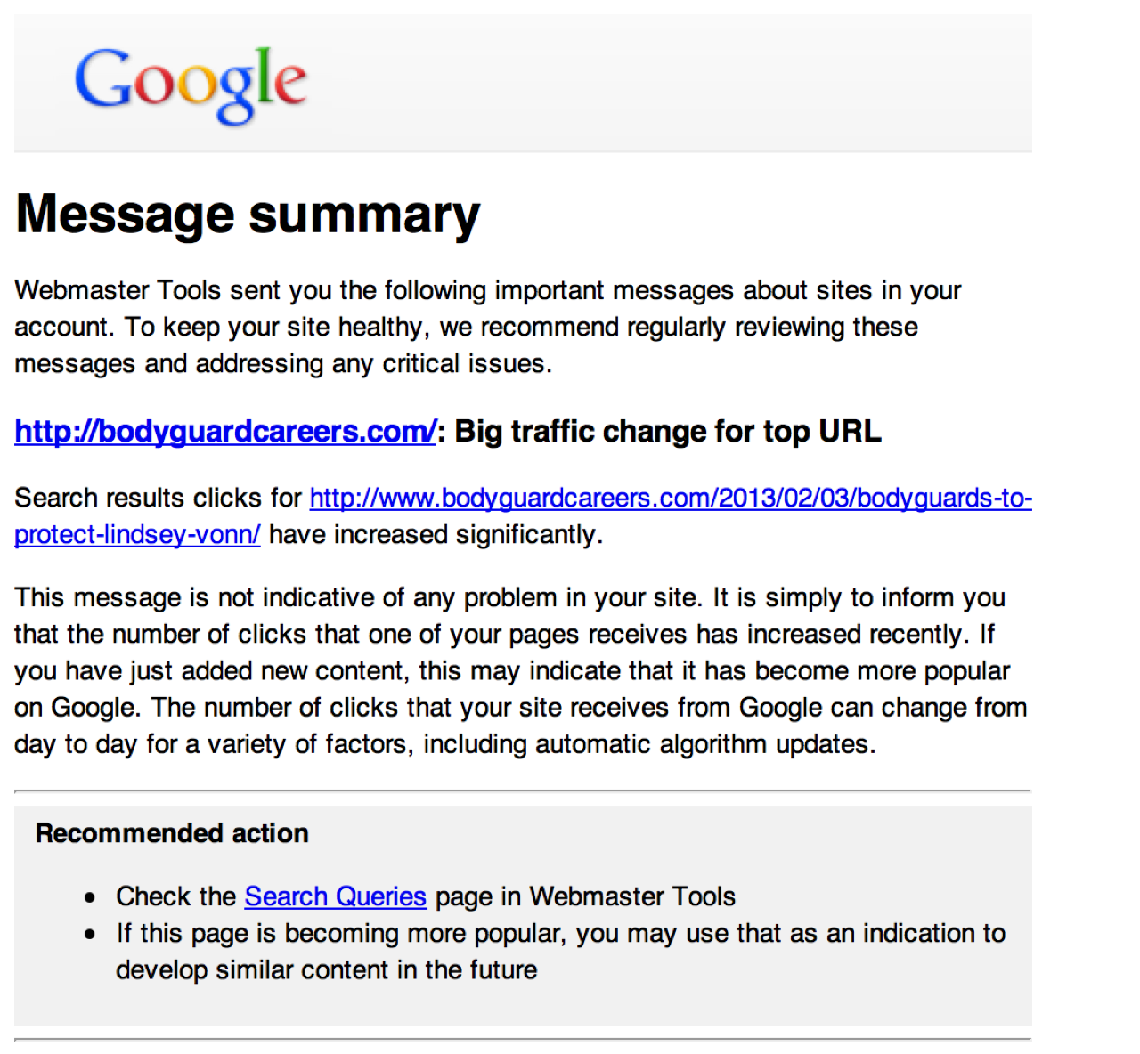 Google Webmaster Tools Traffic Increase