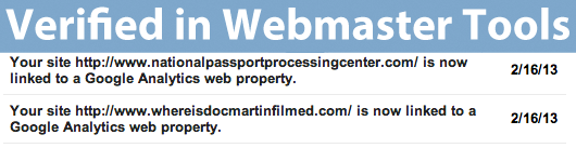 Verified in Webmaster Tools