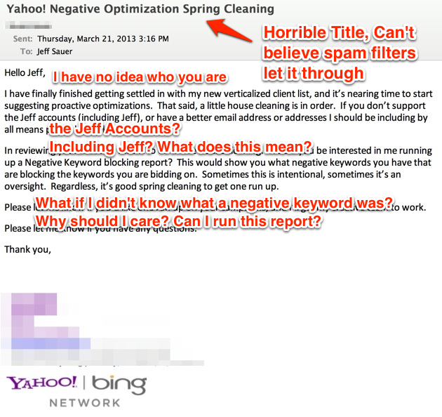 Yahoo Bad PPC Optimization Email