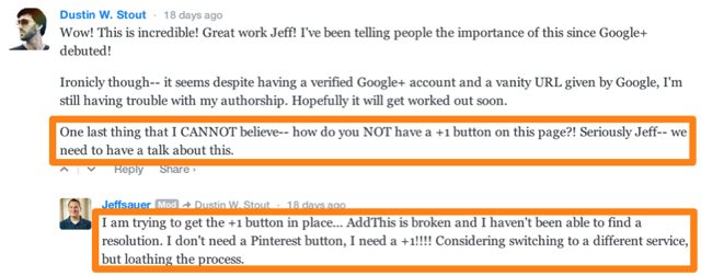 Calling Out a lack of Google+ Buttons