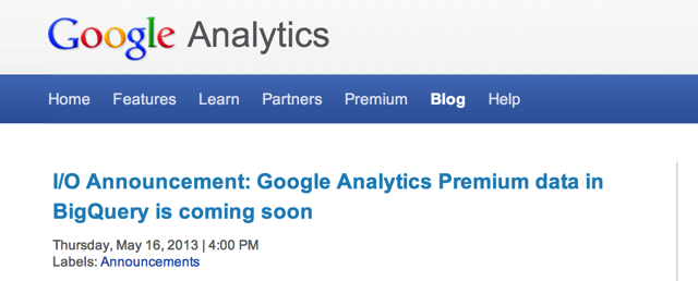 Google Analytics Big Query Announcement