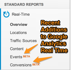 Google Analytics Real Time Reports Improvements