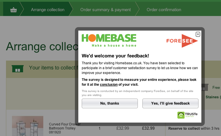 Homebase Survey Checkout