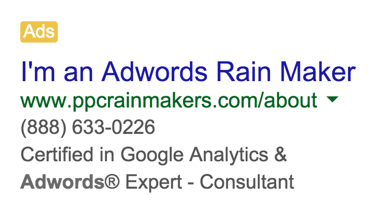 AdWords Rainmaker Ad