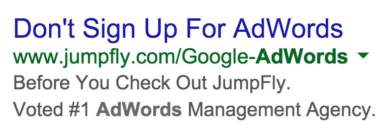 Don't Sign Up for AdWords