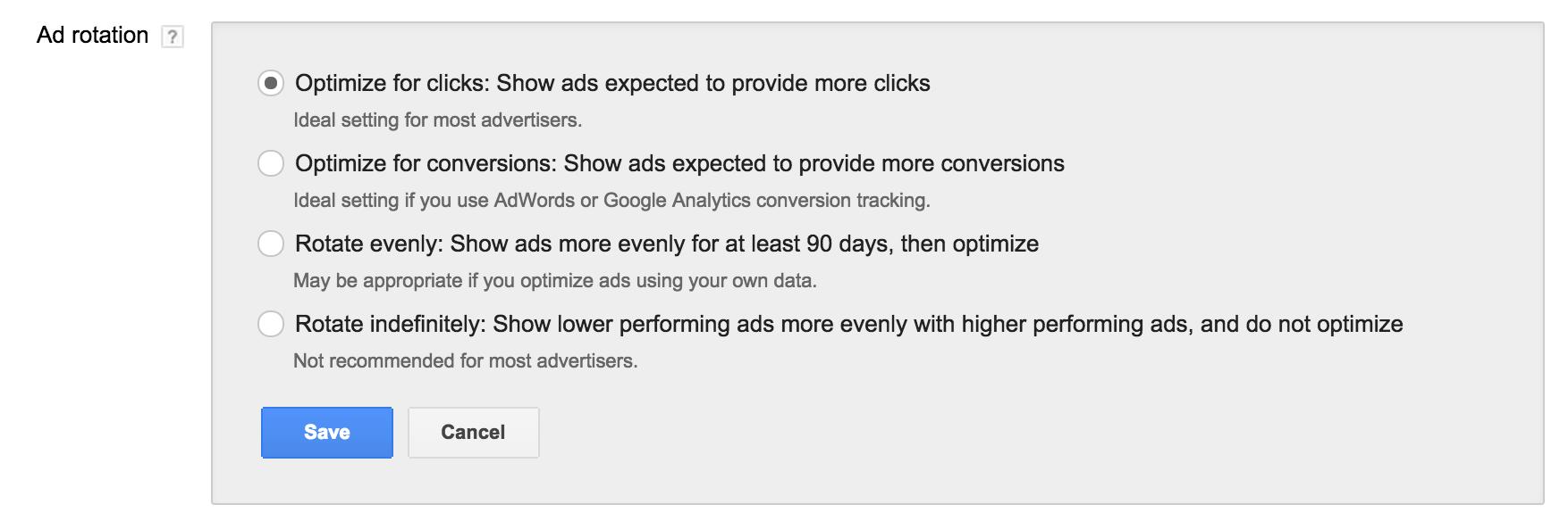 Ads focused on Clicks