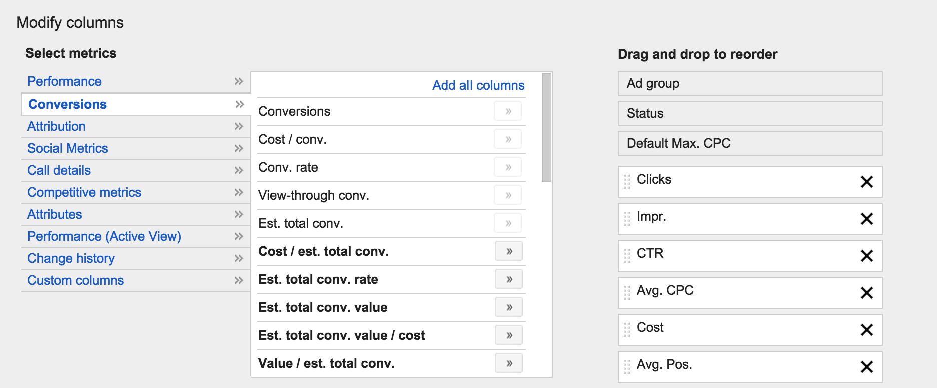 Custom Columns AdWords