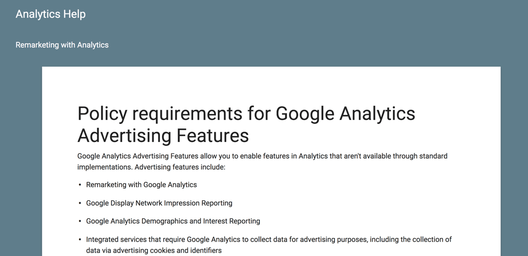 Google analytics advertising features policy
