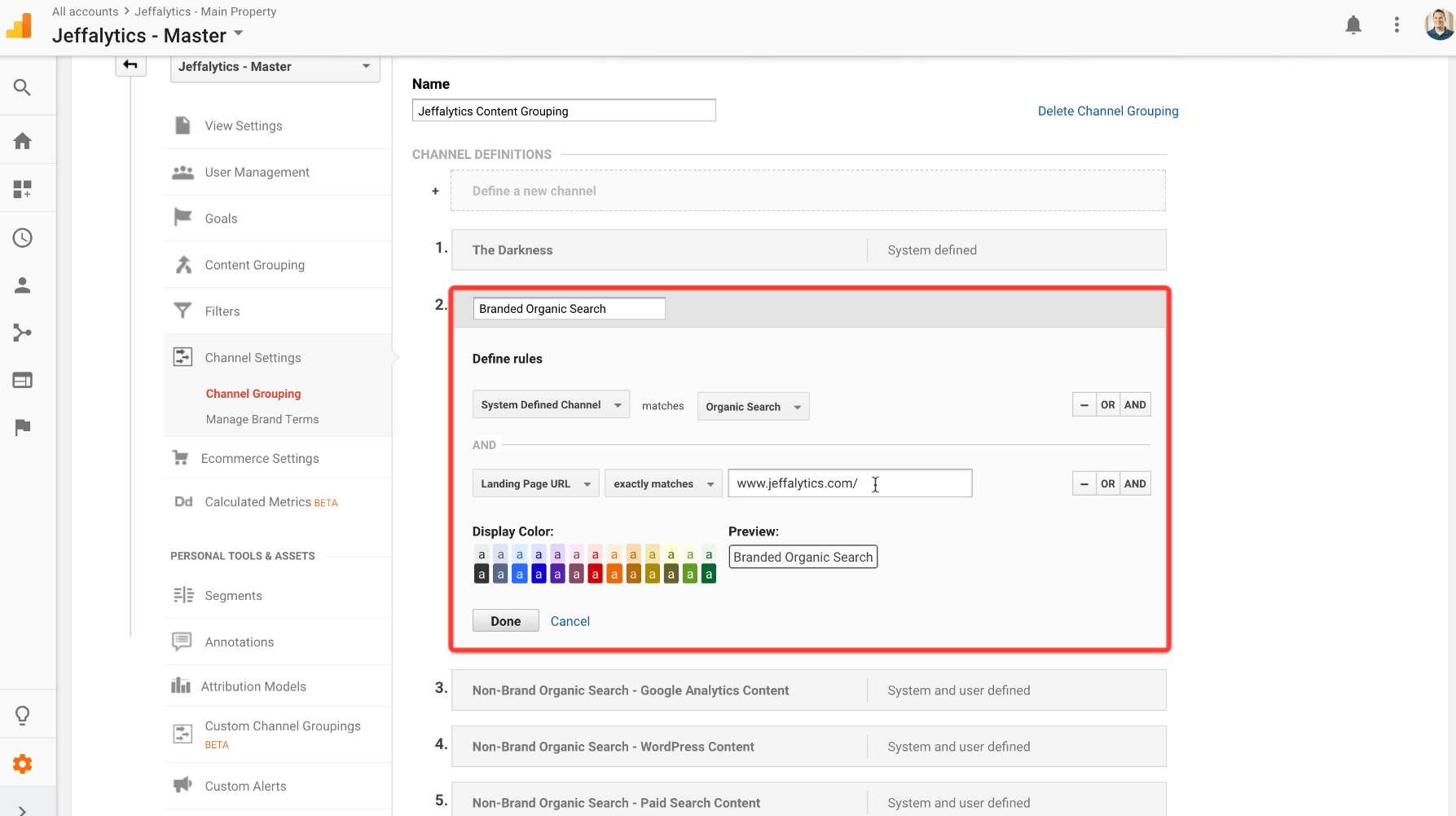 creating custom Channel grouping in google analytics