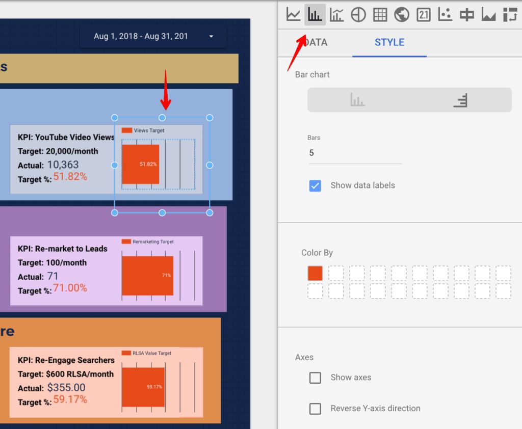 Bar chart in Google Data Studio