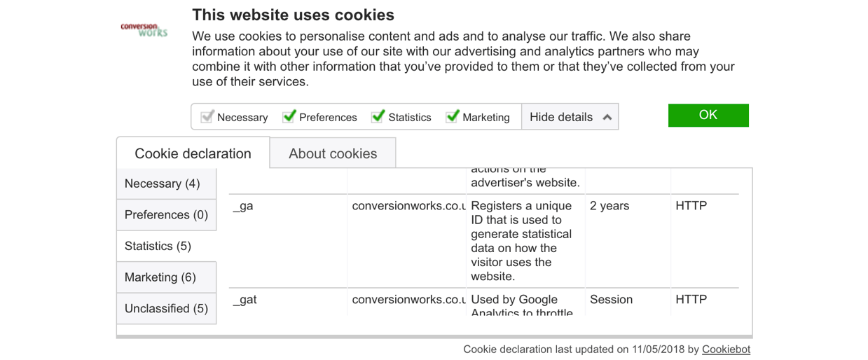 Cookie consent declaration