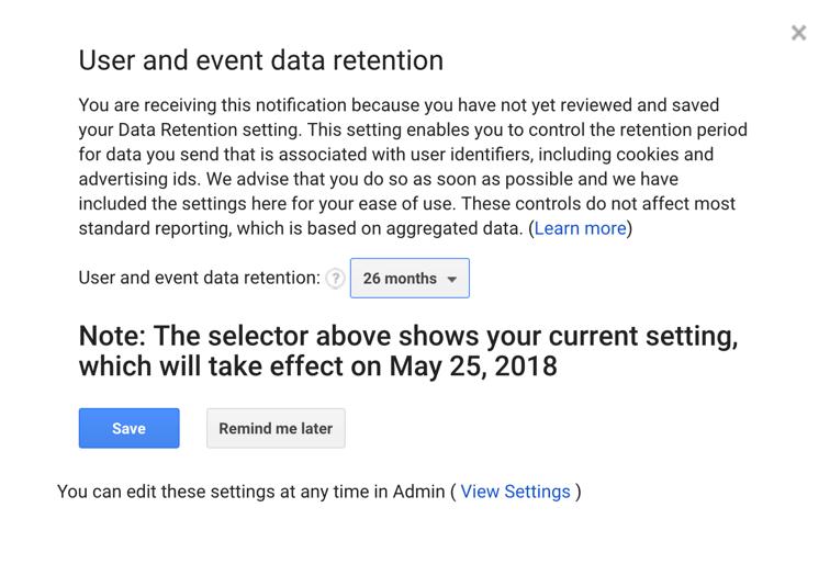 Data retention pop-up Google Analytics