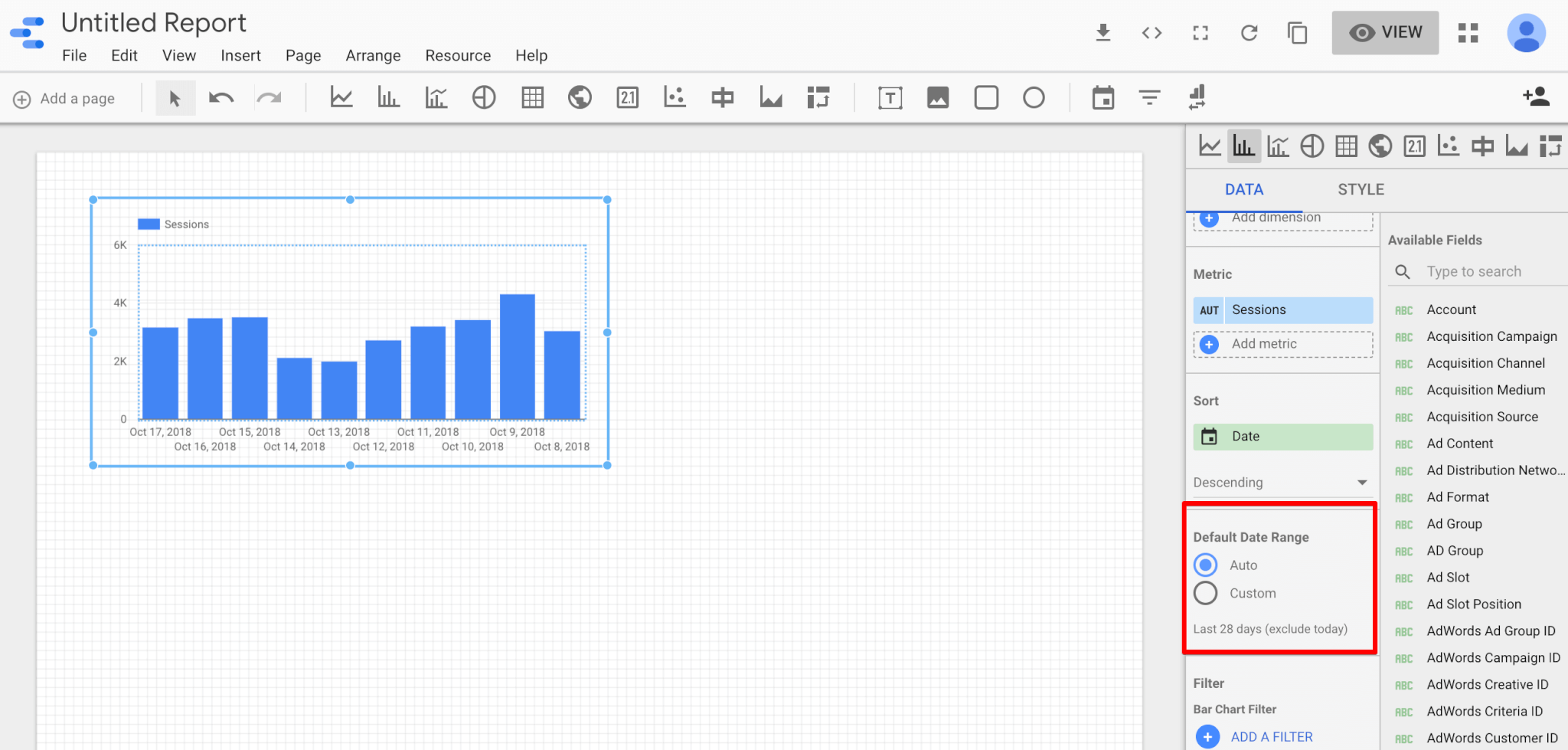 Edit your data range in Google data studio