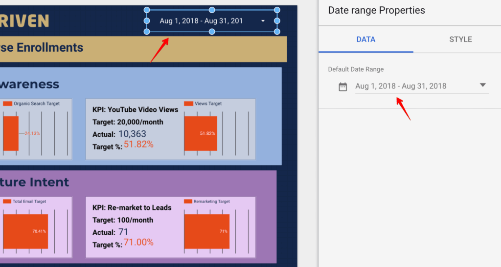 Date Range Selector in Google Data Studio