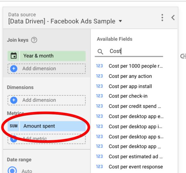 Facebook ads metrics in Google Data Studio