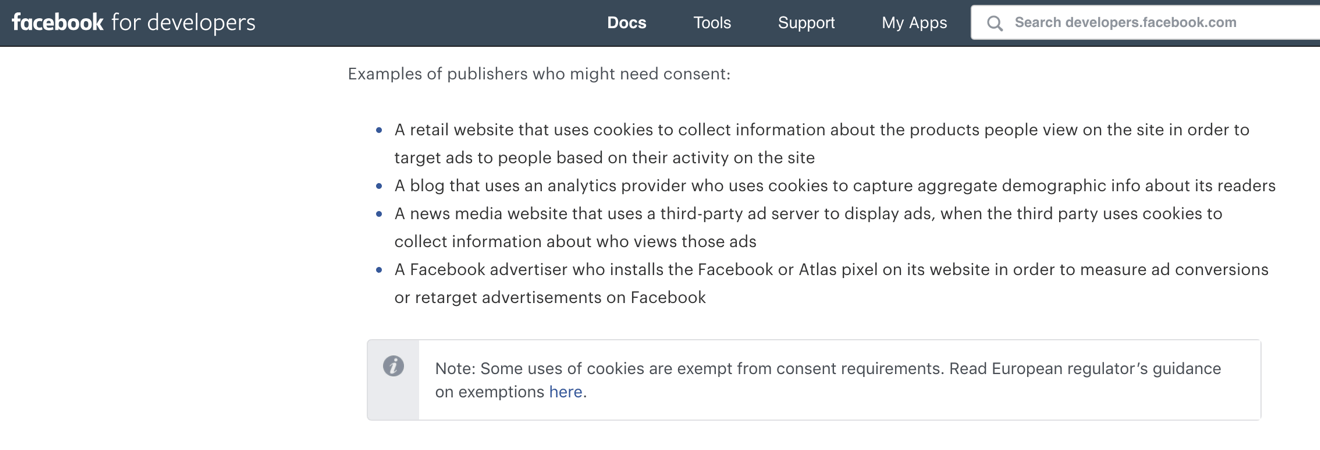 Facebook cookie consent documentation