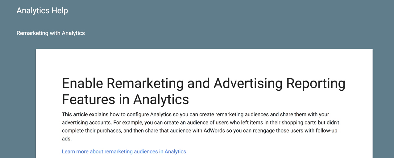 remarketing and advertising support article