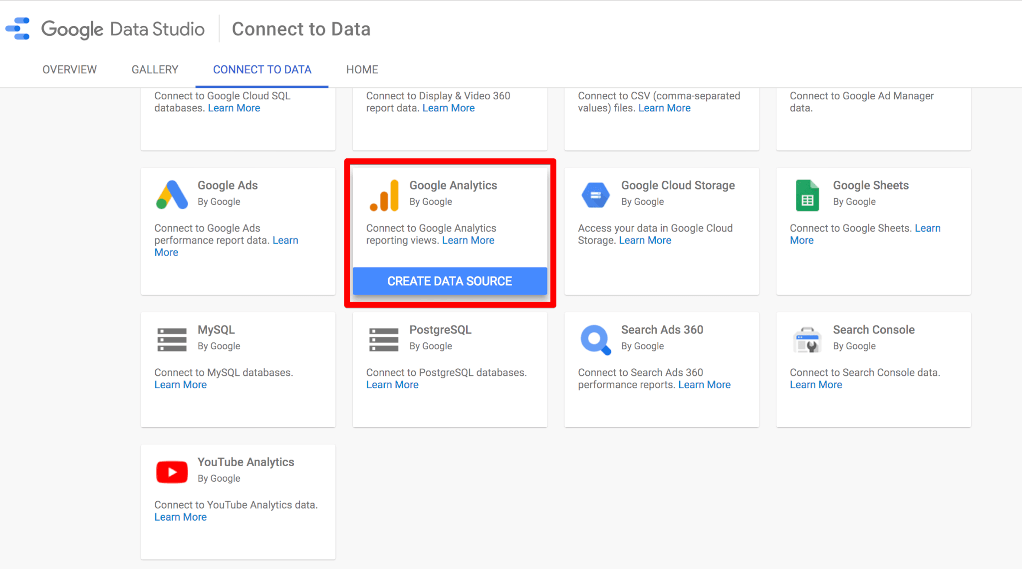 Connecting Google Data Studio to Google Analytics