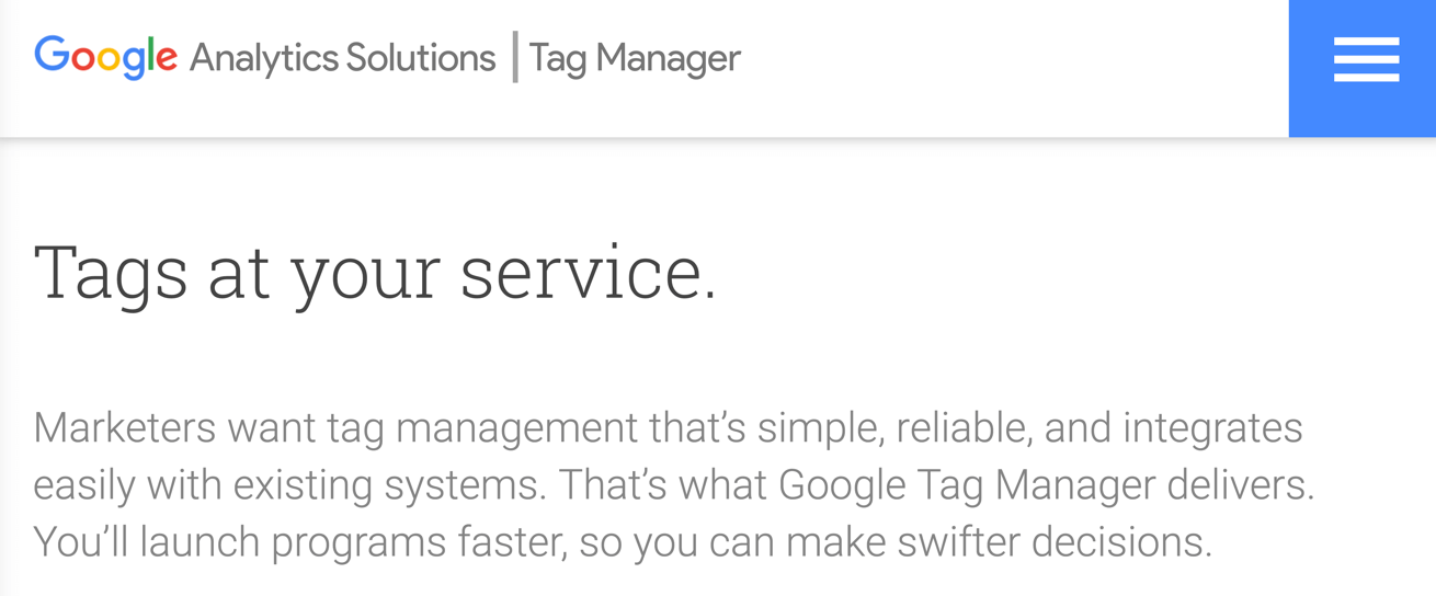 Google Tag Manager homepage