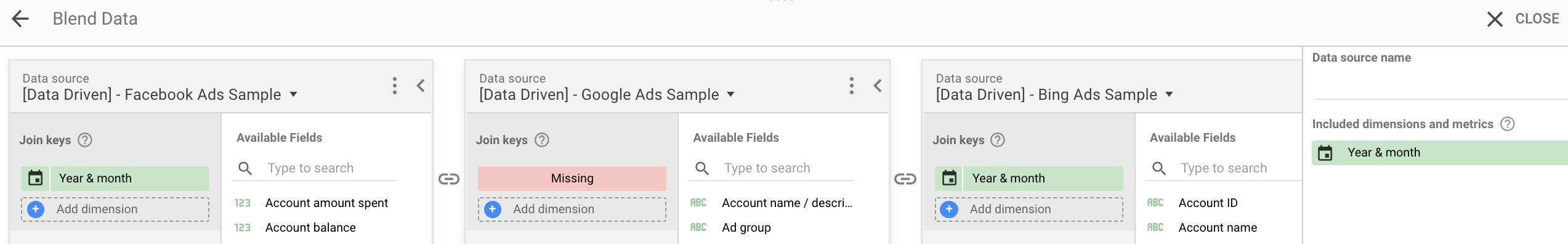 Blending PPC Data in Google Data Studio