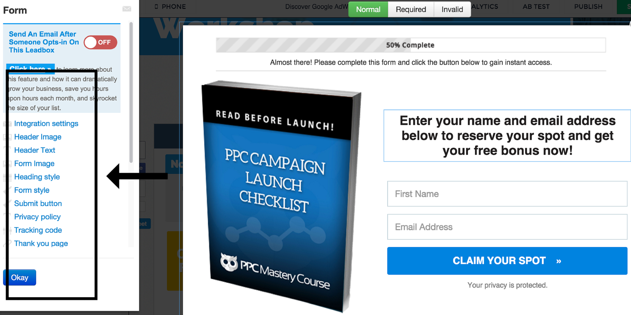 LeadPages Form Editor Screen