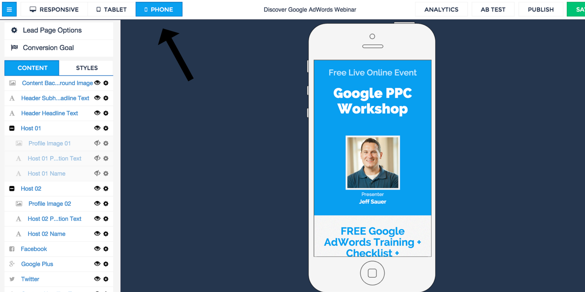 LeadPages Mobile View Screen