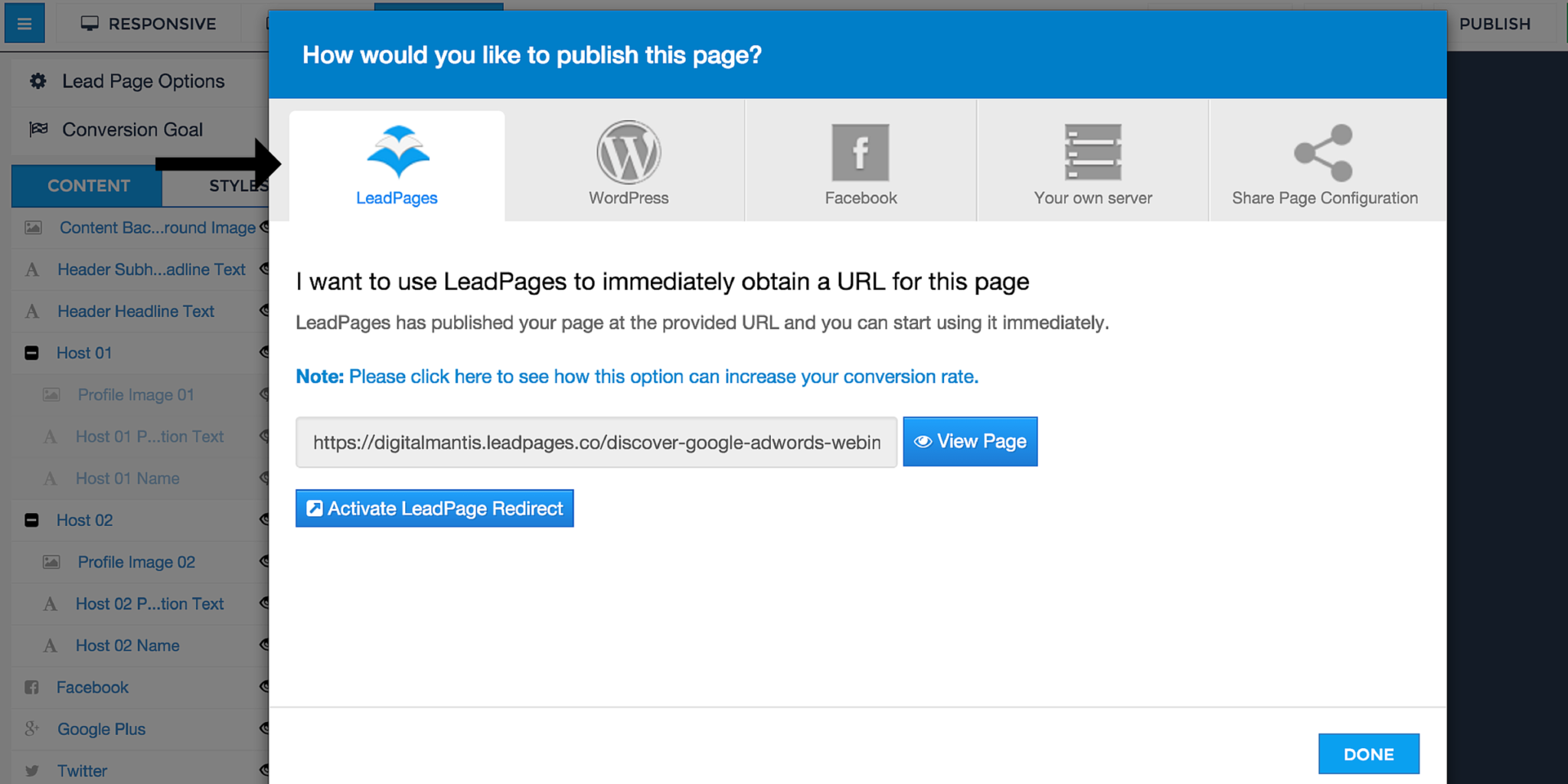 LeadPages Publisher Screen