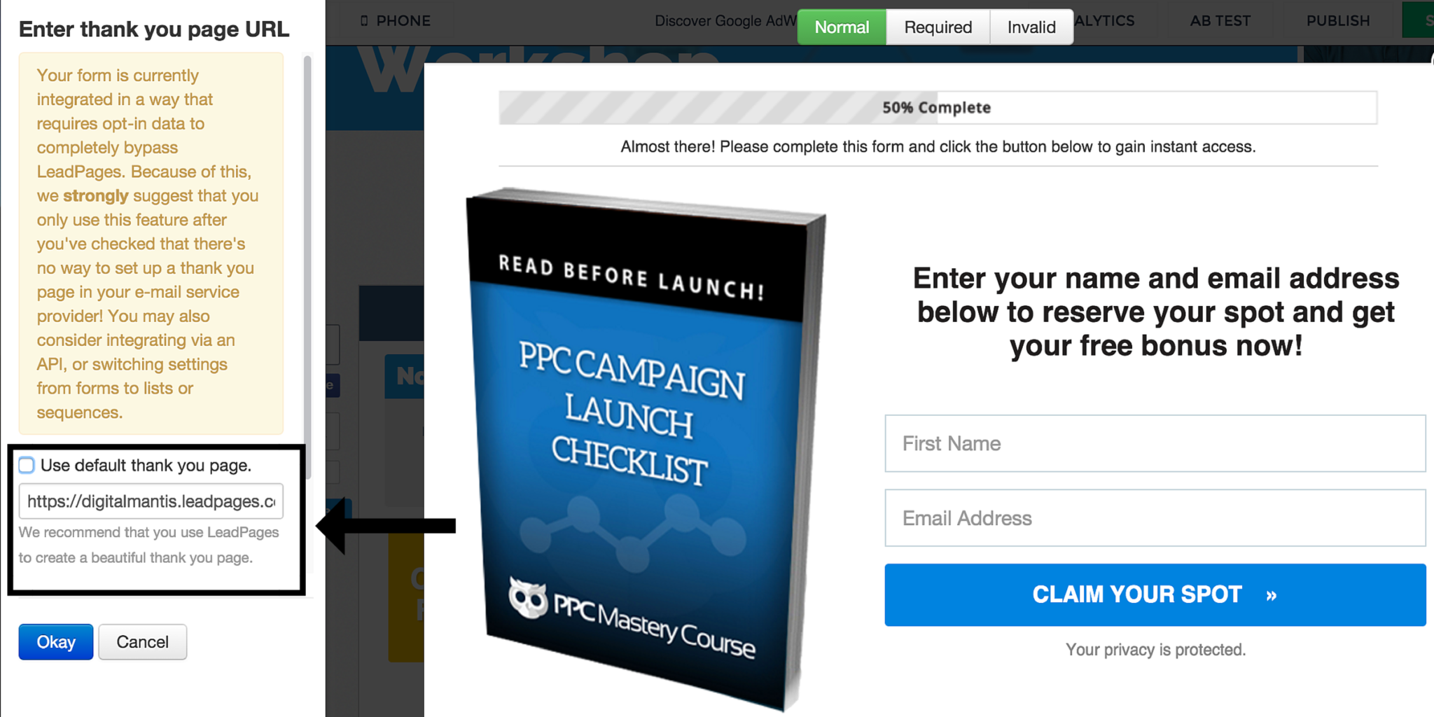 LeadPages Thank You Page Editor Screen