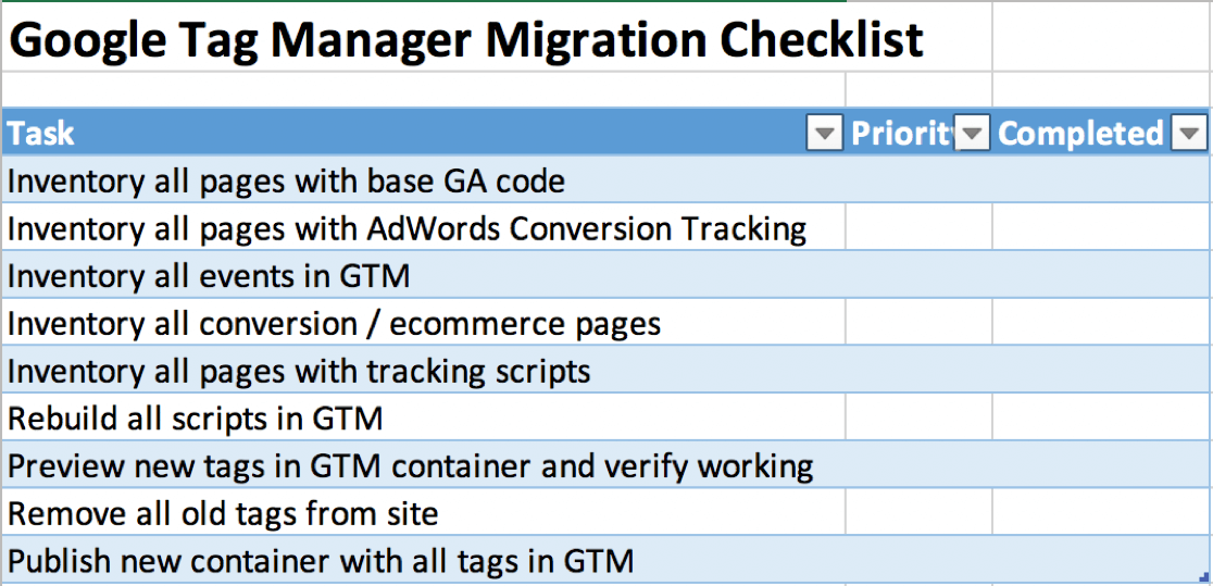 Google Tag Manager Tutorial - Tag Migration Checklist