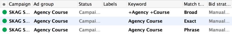 One Ad Group, three match types