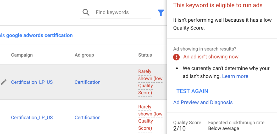 fix low quality scores - AdWords account audit