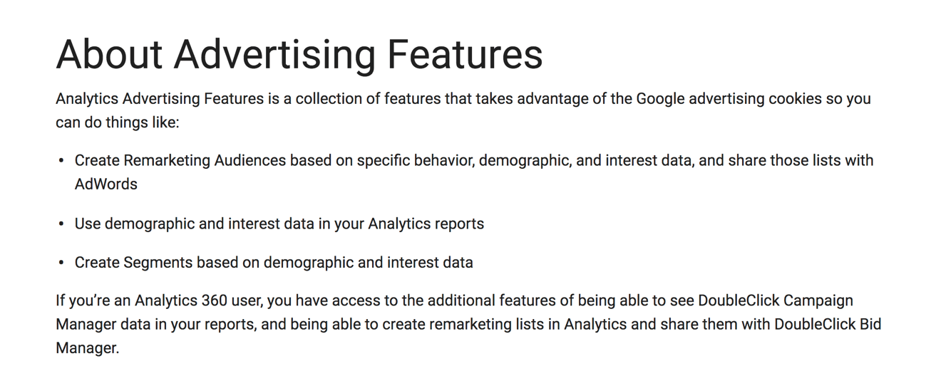 about google analytics advertising features
