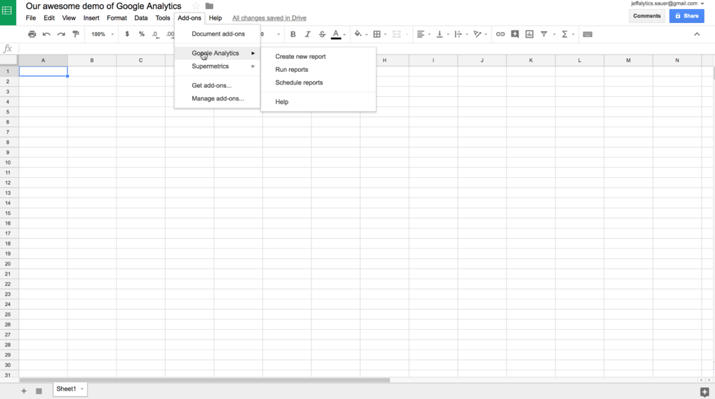 Google Analytics API Google sheets add-on