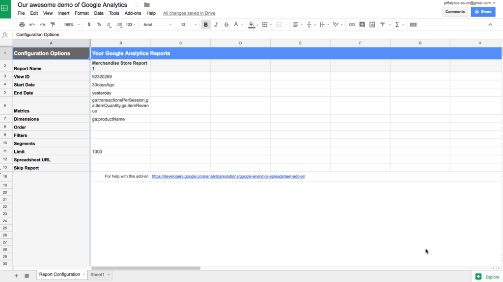 Google analytics api sheets add-on configuration tab