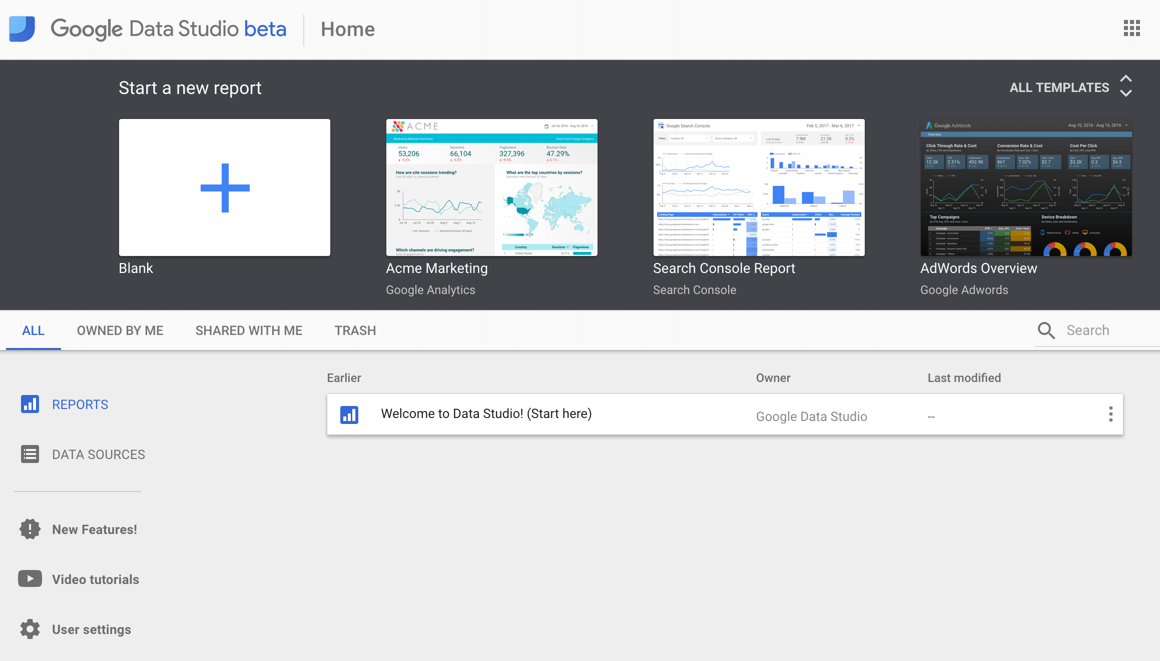 templates in Google Data Studio