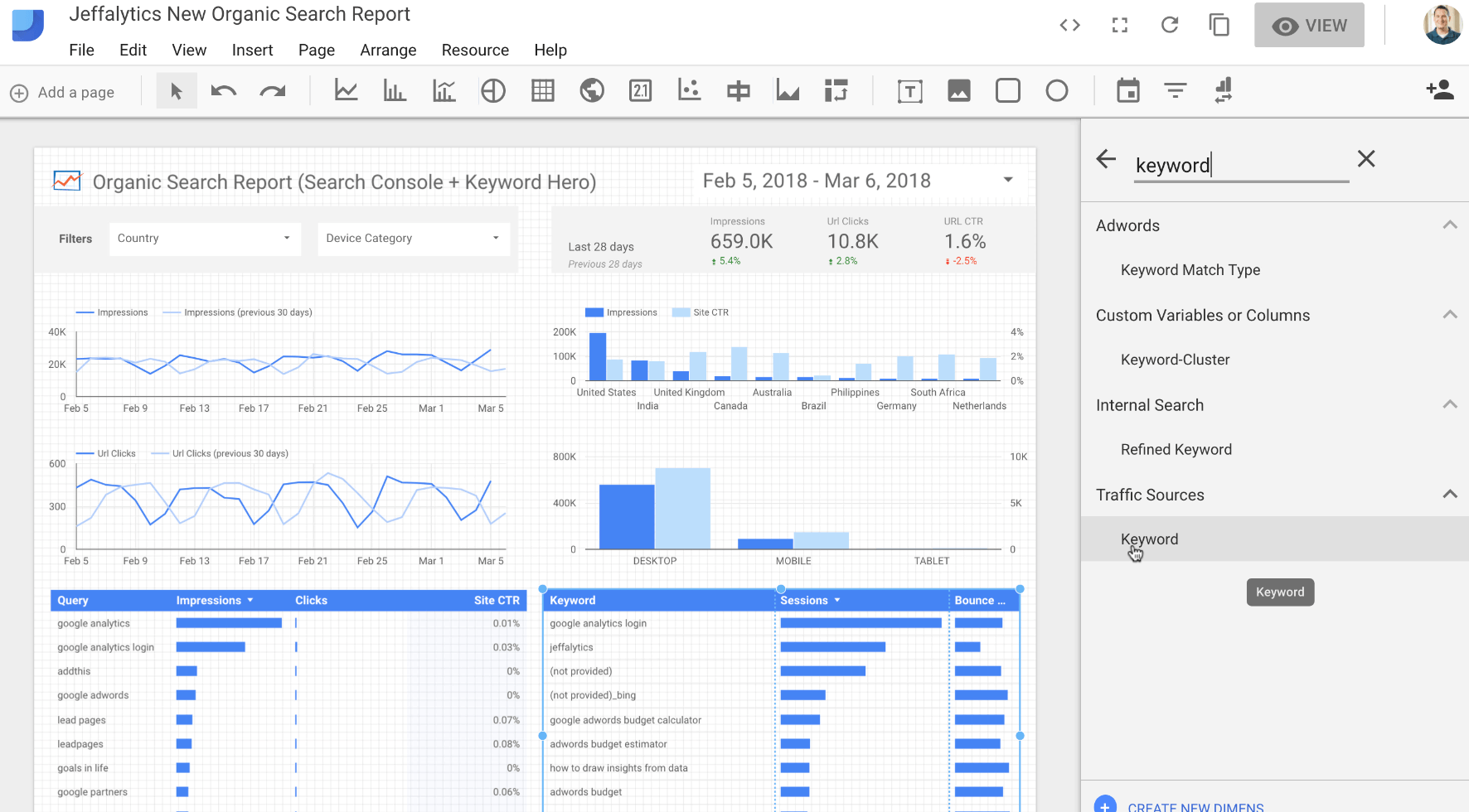 Changing metrics in Google Data Studio