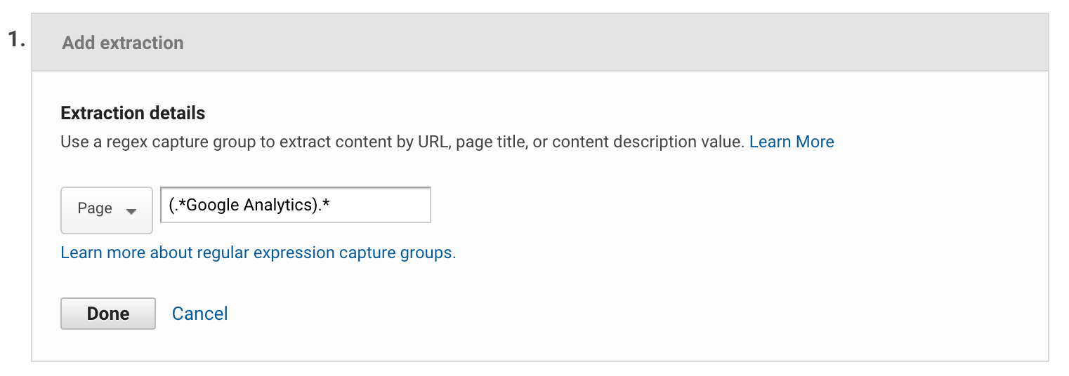 Google Analytics content grouping extraction