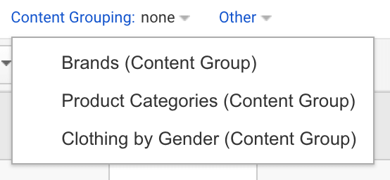 Content grouping product categories