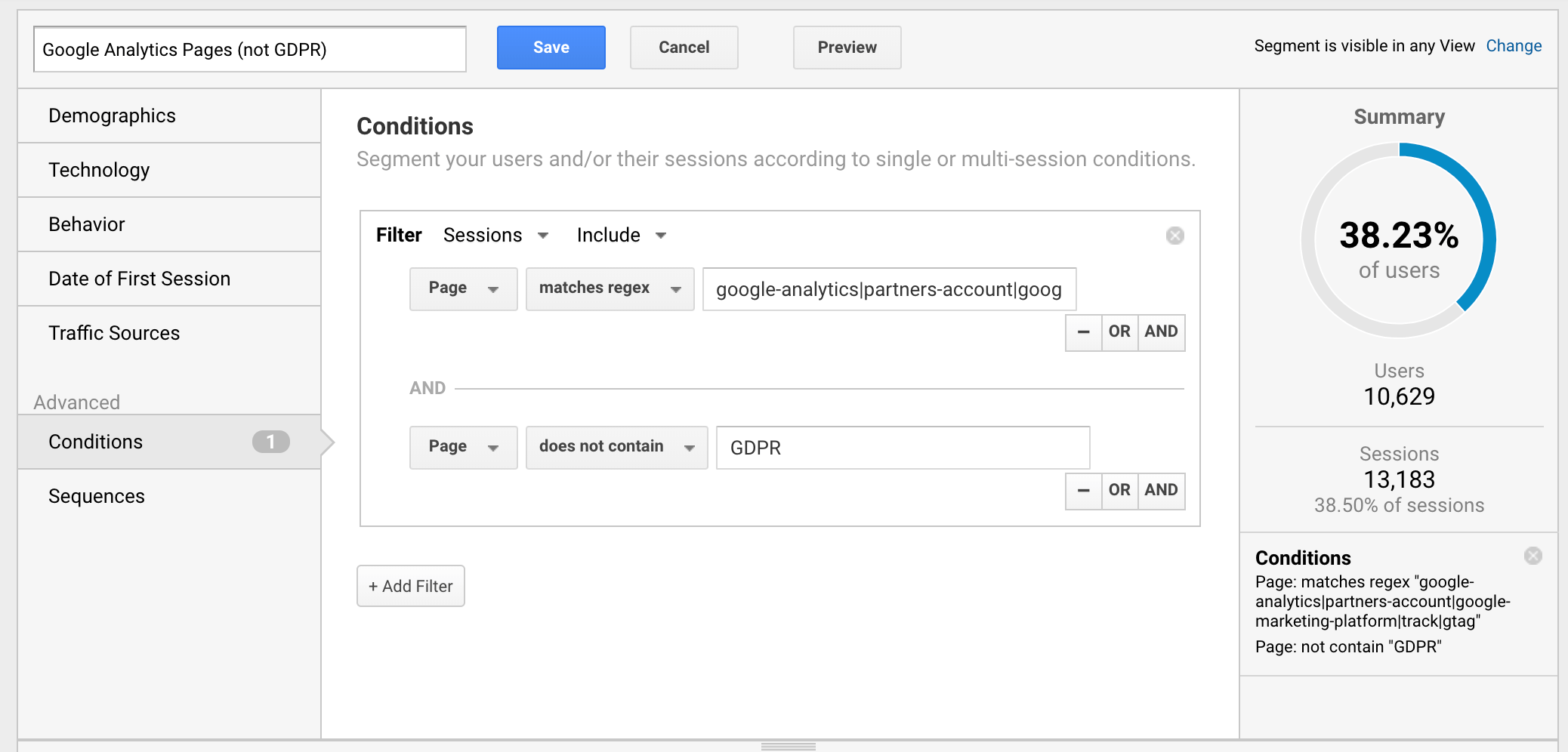 Advanced segment Google Analytics
