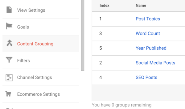 Content grouping settings