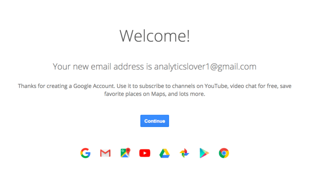 create an account for google analytics