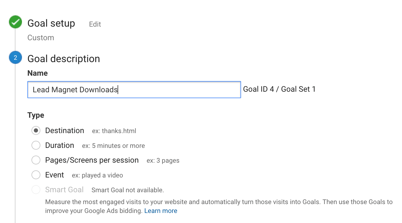 Google Analytics setup goals