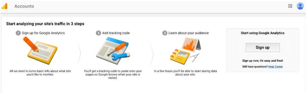 Google Analytics account setup process