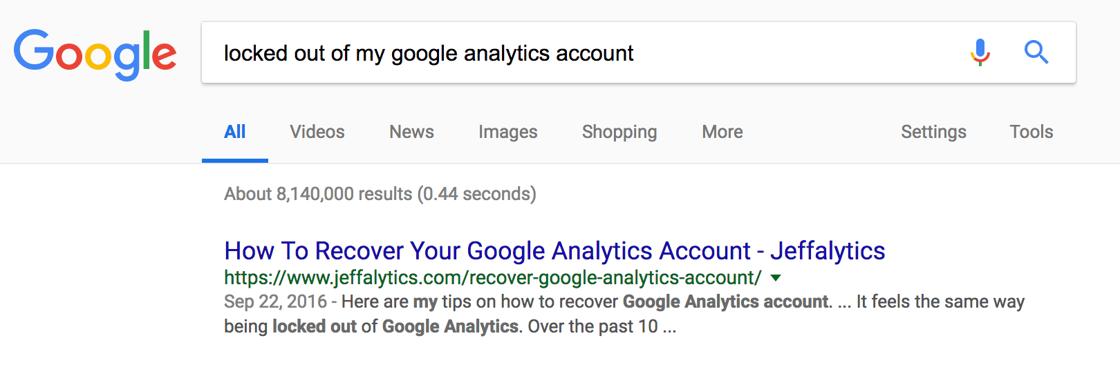 recover google analytics account